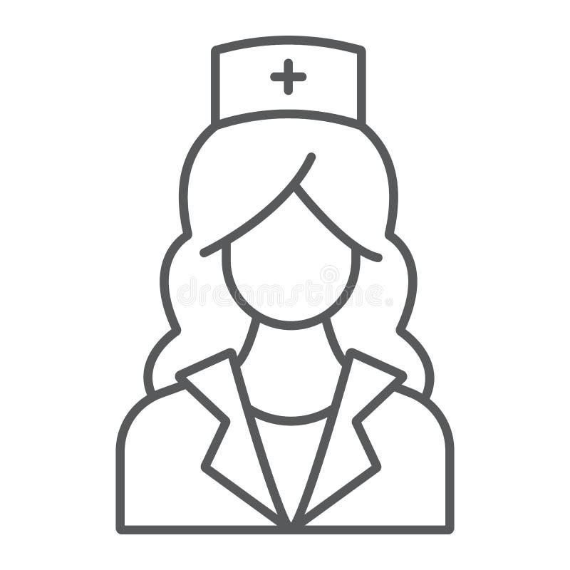 Λεπτό εικονίδιο γραμμών νοσοκόμων, ιατρική και κλινικός, γυναίκα ελεύθερη απεικόνιση δικαιώματος