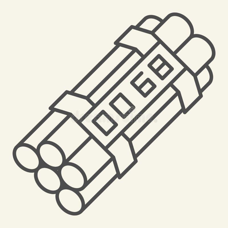 Λεπτό εικονίδιο γραμμών ορολογιακών βομβών Δυναμίτη απεικόνιση που απομονώνεται διανυσματική στο λευκό Σχέδιο ύφους περιλήψεων εκ απεικόνιση αποθεμάτων