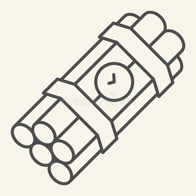 Λεπτό εικονίδιο γραμμών ορολογιακών βομβών Δυναμίτη απεικόνιση που απομονώνεται διανυσματική στο λευκό Σχέδιο ύφους περιλήψεων εκ ελεύθερη απεικόνιση δικαιώματος