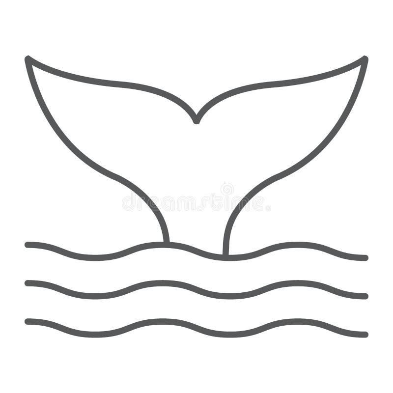 Λεπτό εικονίδιο γραμμών ουρών φαλαινών, ζωικός και υποβρύχιος απεικόνιση αποθεμάτων