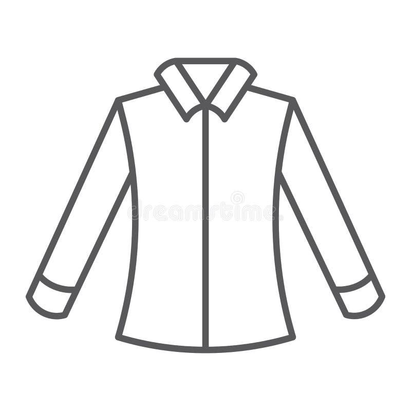 Λεπτό εικονίδιο γραμμών πουκάμισων, ιματισμός και επίσημος, σημάδι μπλουζών, διανυσματική γραφική παράσταση, ένα γραμμικό σχέδιο  διανυσματική απεικόνιση