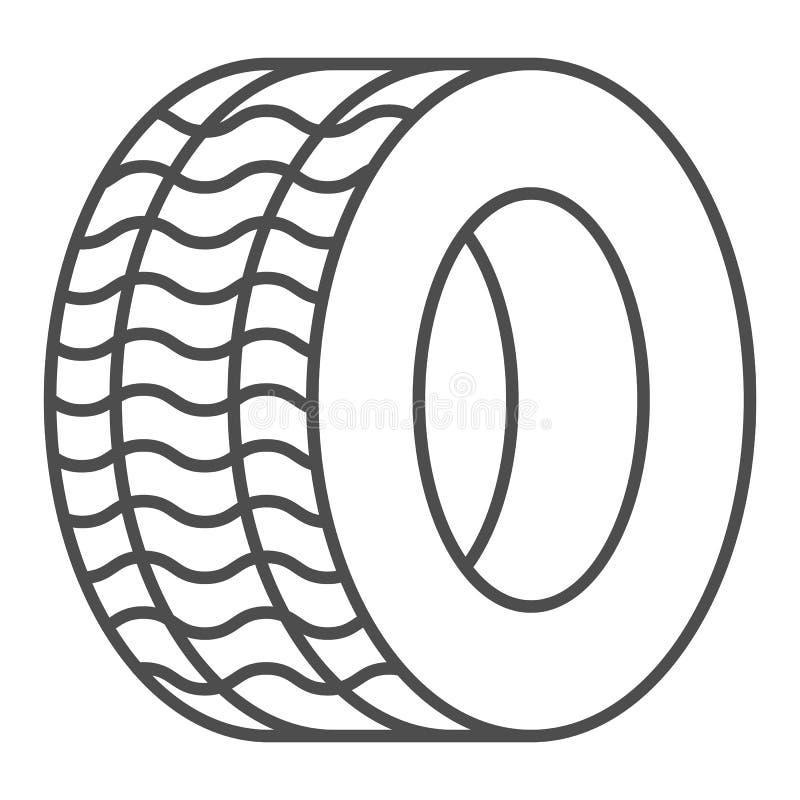 Λεπτό εικονίδιο γραμμών ροδών Αυτοκινητική διανυσματική απεικόνιση ροδών που απομονώνεται στο λευκό Σχέδιο ύφους περιλήψεων ελαστ απεικόνιση αποθεμάτων