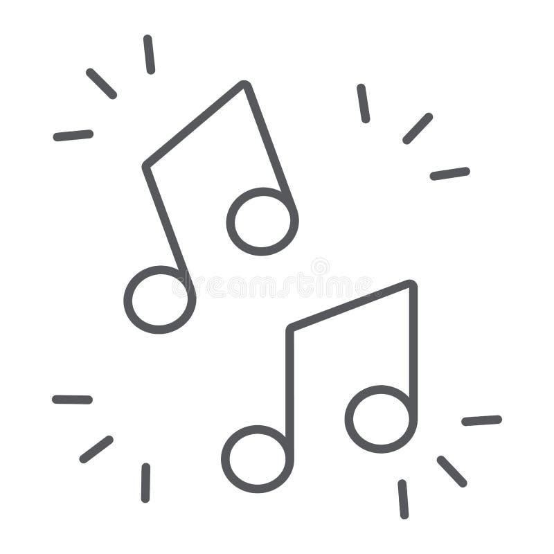 Λεπτό εικονίδιο γραμμών σημειώσεων μουσικής, μουσικός και υγιής, σημάδι μελωδίας, διανυσματική γραφική παράσταση, ένα γραμμικό σχ απεικόνιση αποθεμάτων