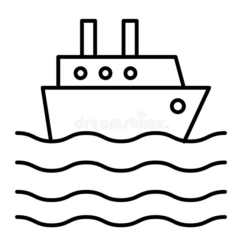 Λεπτό εικονίδιο γραμμών σκαφών της γραμμής σκαφών Κρουαζιερόπλοιων απεικόνιση που απομονώνεται διανυσματική στο λευκό Το ωκεάνιο  ελεύθερη απεικόνιση δικαιώματος