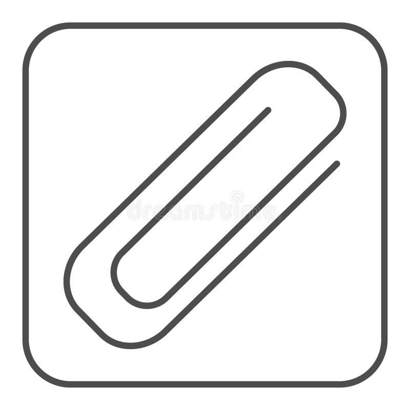 Λεπτό εικονίδιο γραμμών συνδετήρων Paperclip απεικόνιση που απομονώνεται διανυσματική στο λευκό Clinch σχέδιο ύφους περιλήψεων, π απεικόνιση αποθεμάτων