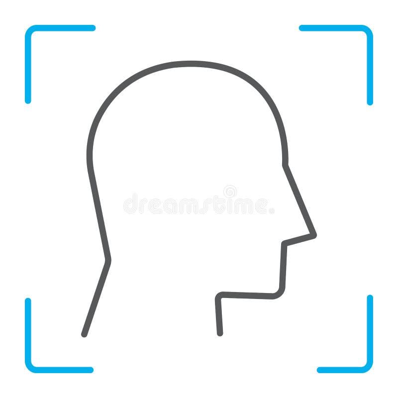 Λεπτό εικονίδιο γραμμών ταυτότητας προσώπου, αναγνώριση προσώπου ελεύθερη απεικόνιση δικαιώματος