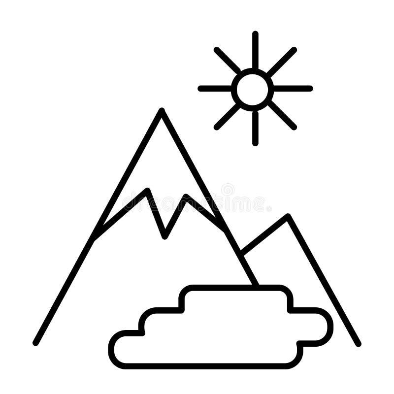 Λεπτό εικονίδιο γραμμών τοπίων βουνών Βουνά, διανυσματική απεικόνιση ήλιων και λιμνών που απομονώνεται στο λευκό Ύφος περιλήψεων  διανυσματική απεικόνιση