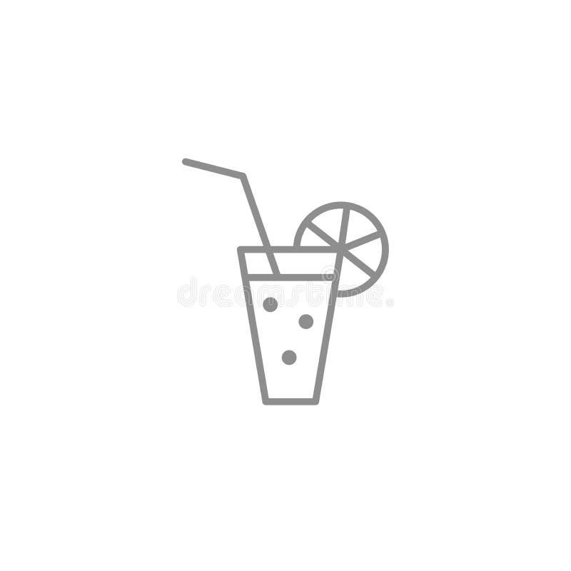 Λεπτό εικονίδιο γραμμών του ποτού γυαλιού με τις φυσαλίδες και το άχυρο Οινόπνευμα και φρέσκο σύμβολο ποτών διανυσματική απεικόνιση