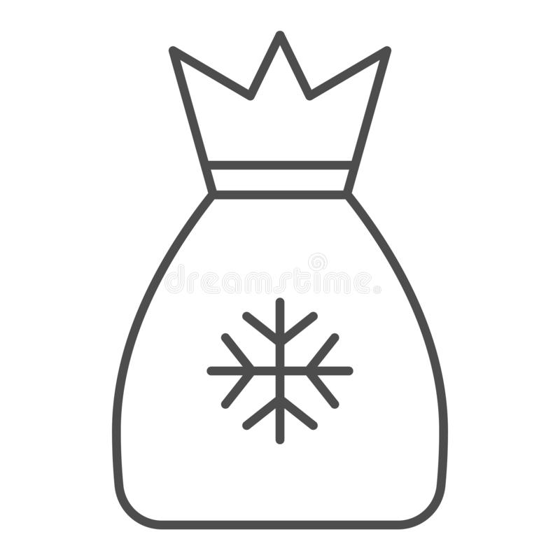 Λεπτό εικονίδιο γραμμών τσαντών Santas Η τσάντα με παρουσιάζει τη διανυσματική απεικόνιση που απομονώνεται στο λευκό Σχέδιο ύφους ελεύθερη απεικόνιση δικαιώματος
