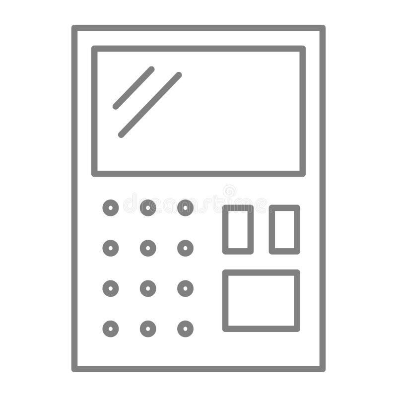 Λεπτό εικονίδιο γραμμών υπολογιστών Λογιστικής απεικόνιση που απομονώνεται διανυσματική στο λευκό Υπολογίστε το σχέδιο ύφους περι ελεύθερη απεικόνιση δικαιώματος