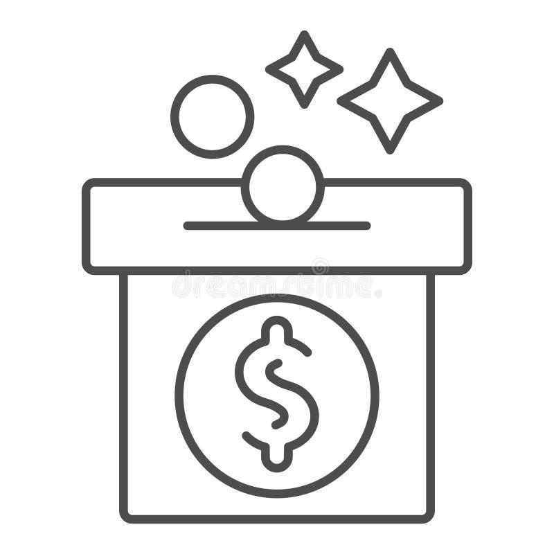 Λεπτό εικονίδιο γραμμών Moneybox Piggy τραπεζών απεικόνιση που απομονώνεται διανυσματική στο λευκό Σχέδιο ύφους περιλήψεων αποταμ διανυσματική απεικόνιση