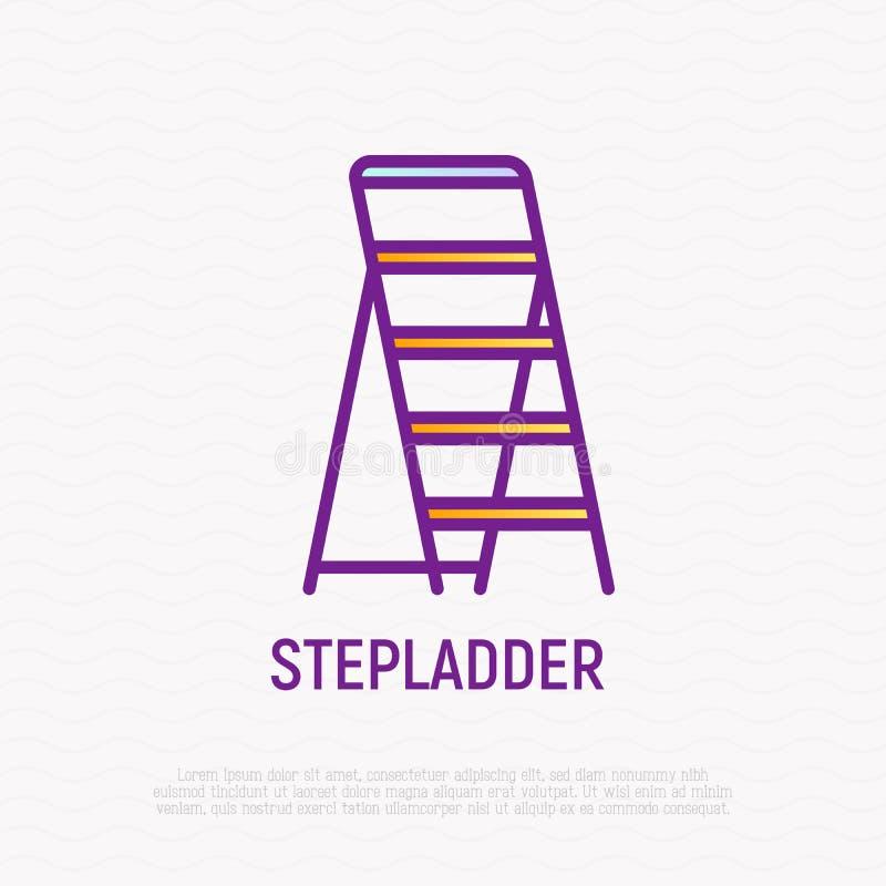 Λεπτό εικονίδιο γραμμών Stepladder ελεύθερη απεικόνιση δικαιώματος