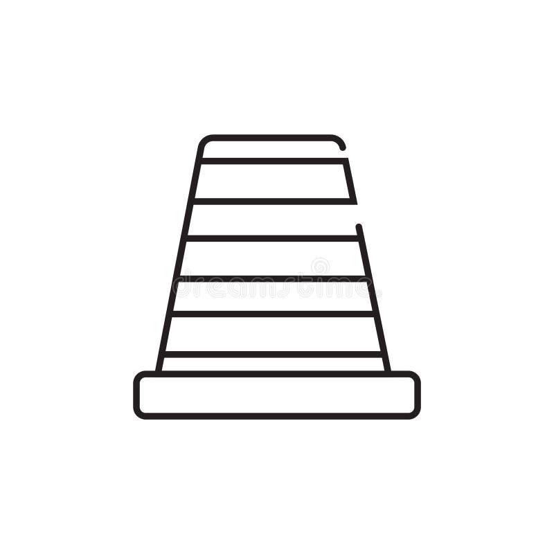 Λεπτό εικονίδιο κώνων κυκλοφορίας γραμμών διανυσματική απεικόνιση