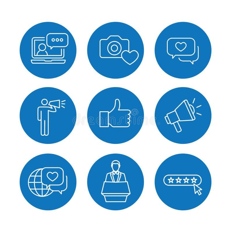 Λεπτό εικονίδιο περιλήψεων γραμμών πρεσβευτών εμπορικών σημάτων που τίθεται με Megaphone, Infl διανυσματική απεικόνιση