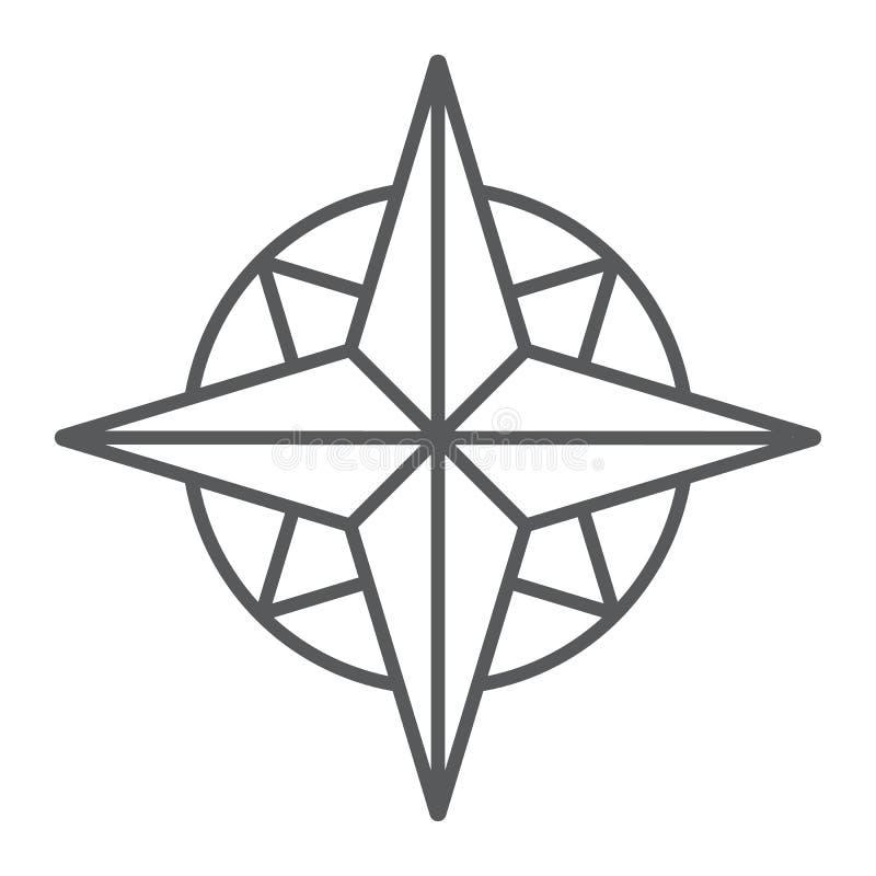 Λεπτό εικονίδιο, πλοηγός και γεωγραφία γραμμών πυξίδων διανυσματική απεικόνιση