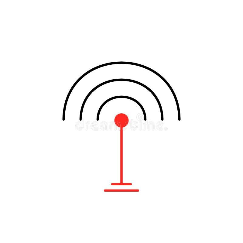 Λεπτό εικονίδιο σημάτων wifi γραμμών που απομονώνεται στο λευκό διανυσματική απεικόνιση