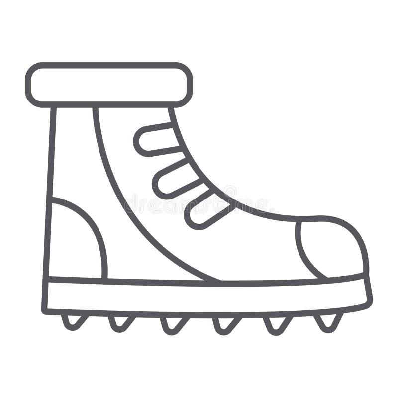 Λεπτό εικονίδιο, υποδήματα και πεζοπορία γραμμών μποτών, καθορισμένο σημάδι παπουτσιών, διανυσματική γραφική παράσταση, ένα γραμμ απεικόνιση αποθεμάτων