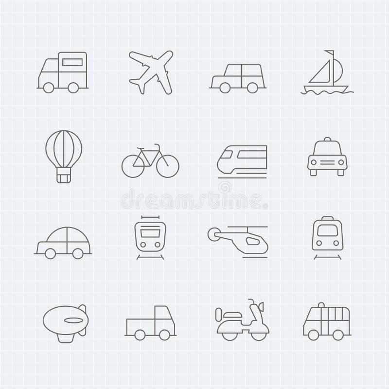 Λεπτό εικονίδιο συμβόλων γραμμών μεταφορών απεικόνιση αποθεμάτων