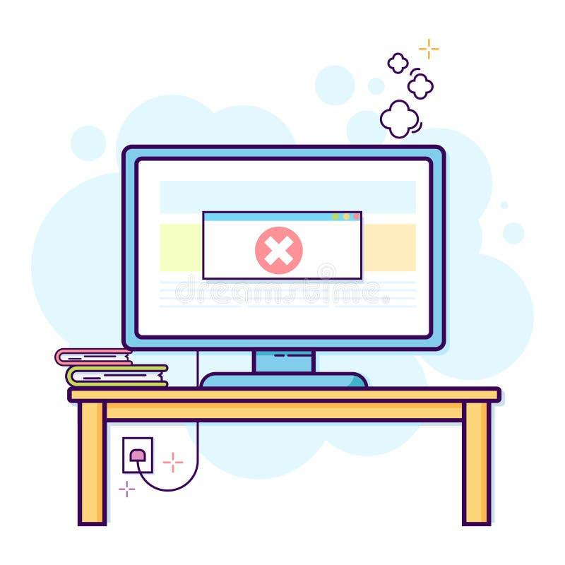 Λεπτό επίπεδο σχέδιο γραμμών του σύγχρονου χώρου εργασίας γραφείων με τον υπολογιστή γραφείου με το κρίσιμο λάθος διανυσματική απεικόνιση