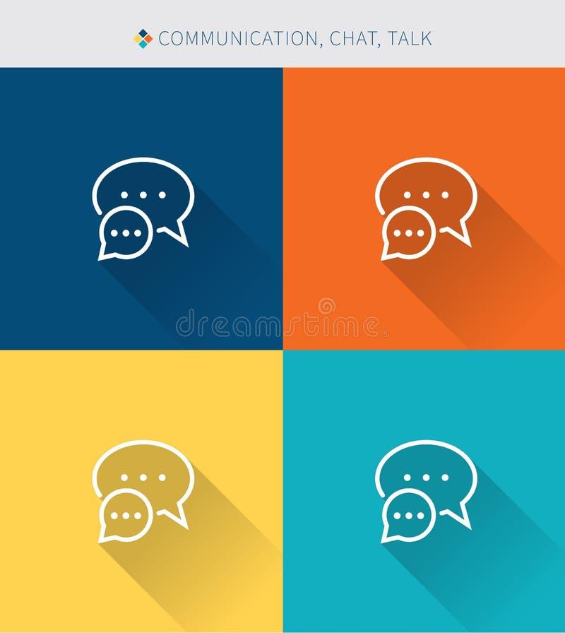 Λεπτό λεπτό σύνολο εικονιδίων γραμμών επικοινωνίας & συζήτησης και συνομιλίας, σύγχρονο απλό ύφος διανυσματική απεικόνιση