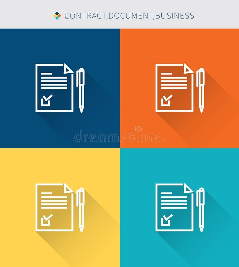 Λεπτό λεπτό σύνολο εικονιδίων γραμμών σύμβασης & εγγράφου, σύγχρονο απλό ύφος διανυσματική απεικόνιση