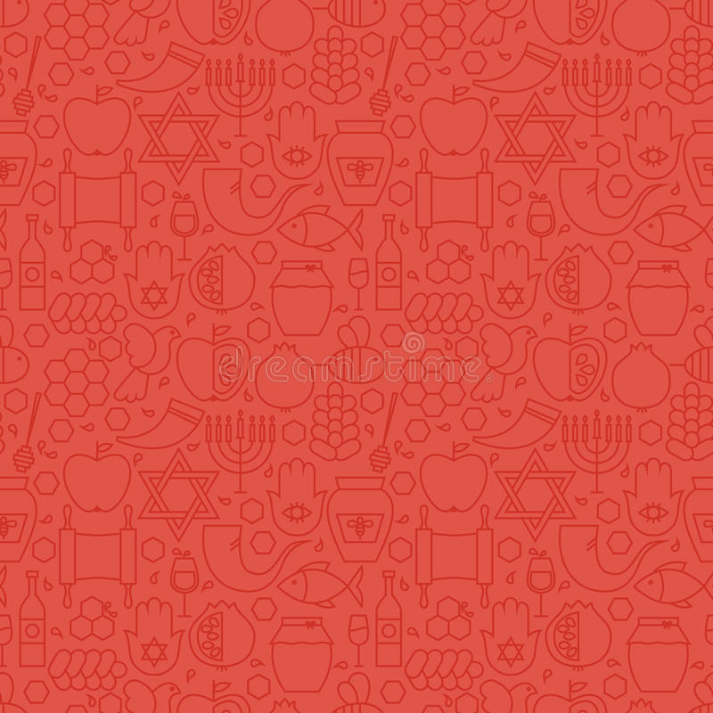 Λεπτό διακοπών κόκκινο άνευ ραφής σχέδιο έτους γραμμών εβραϊκό νέο ελεύθερη απεικόνιση δικαιώματος