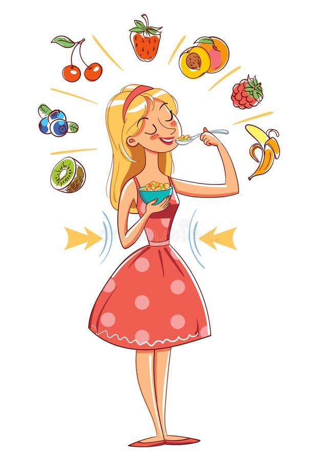 Λεπτό κορίτσι που τρώει τα δημητριακά χαρακτήρας κινουμένων σχ&eps απεικόνιση αποθεμάτων