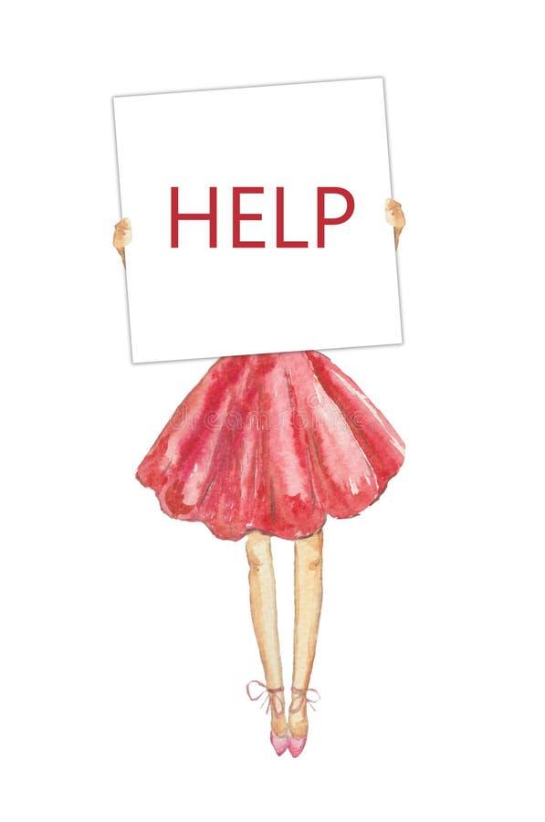 Λεπτό κορίτσι Watercolor σε μια πολύβλαστη ρόδινη φούστα που κρατά το λευκό πίνακα, που ζητά τη βοήθεια, που απαιτεί για τη δημόσ διανυσματική απεικόνιση
