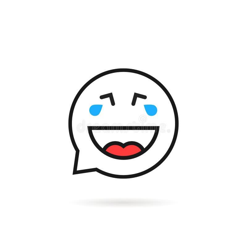 Λεπτό λογότυπο λεκτικών φυσαλίδων emoji κραυγής και γέλιου γραμμών απεικόνιση αποθεμάτων