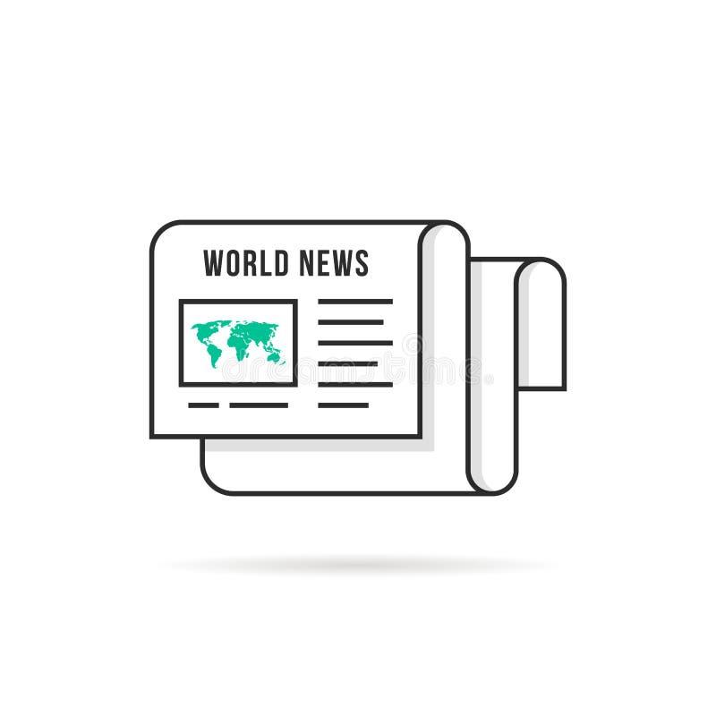 Λεπτό λογότυπο παγκόσμιων ειδήσεων γραμμών όπως την εφημερίδα διανυσματική απεικόνιση