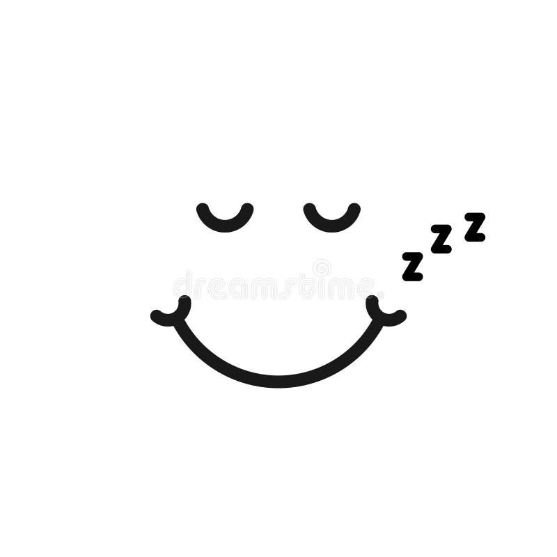 Λεπτό λογότυπο emoji ύπνου γραμμών όπως απεικόνιση αποθεμάτων