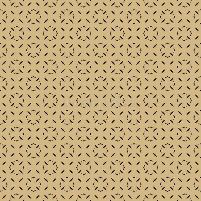 Λεπτό μαύρο και χρυσό διανυσματικό άνευ ραφής σχέδιο με τα μικρά γεωμετρικά λουλούδια διανυσματική απεικόνιση