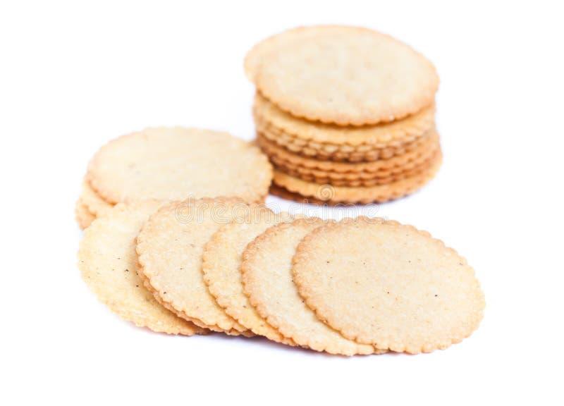 Λεπτό μπισκότο που απομονώνεται σε μια άσπρη ανασκόπηση στοκ φωτογραφία