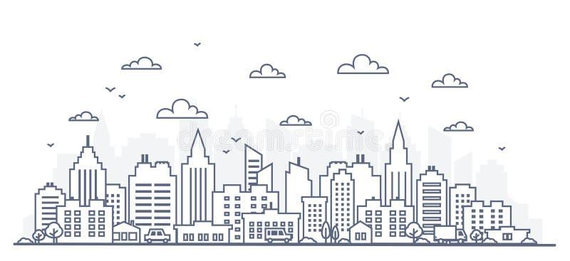 Λεπτό πανόραμα πόλεων ύφους γραμμών Απεικόνιση της αστικής οδού τοπίων με τα αυτοκίνητα, κτίρια γραφείων πόλεων οριζόντων, στο φω διανυσματική απεικόνιση