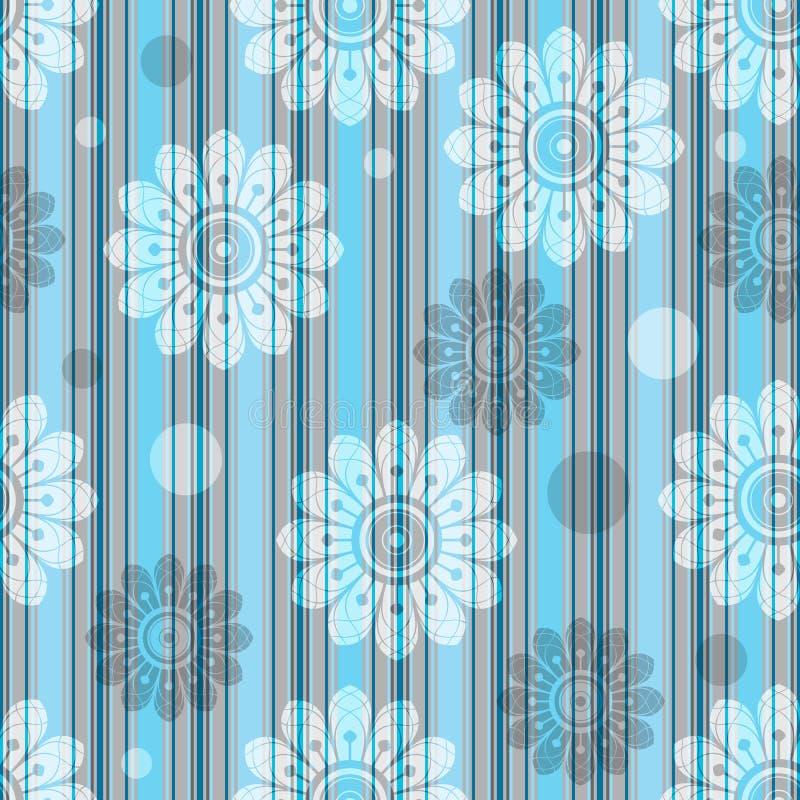 Λεπτό ριγωτό μπλε-γκρίζο άνευ ραφής σχέδιο με τα διαφανή λουλούδια απεικόνιση αποθεμάτων