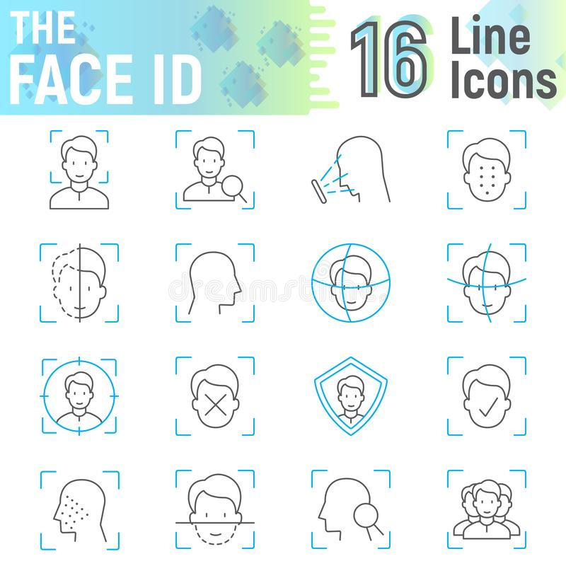 Λεπτό σύνολο εικονιδίων γραμμών ταυτότητας προσώπου, σημάδια αναγνώρισης προσώπου ελεύθερη απεικόνιση δικαιώματος
