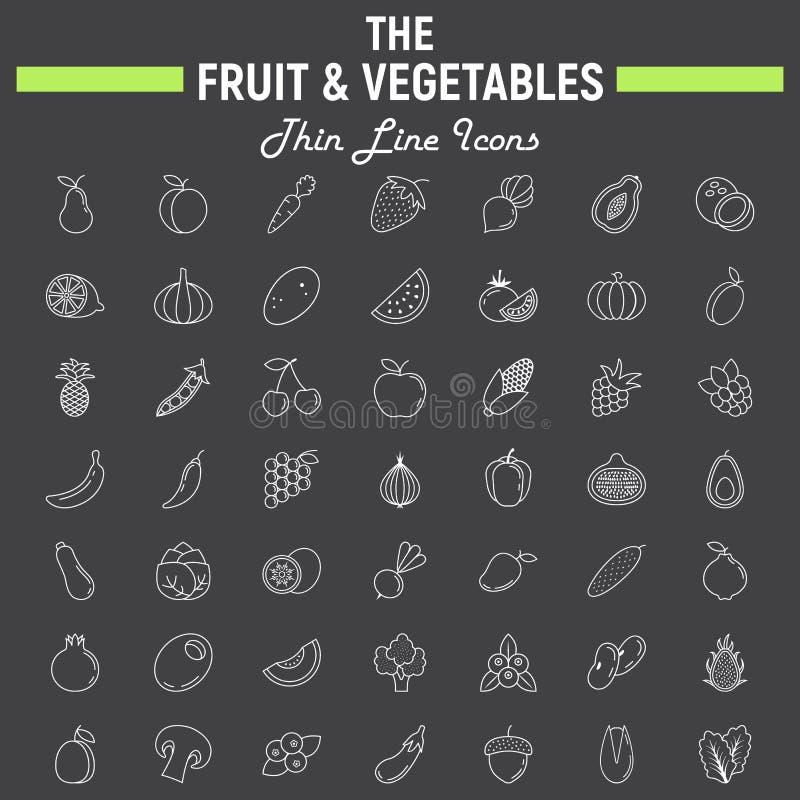 Λεπτό σύνολο εικονιδίων γραμμών φρούτων και λαχανικών ελεύθερη απεικόνιση δικαιώματος