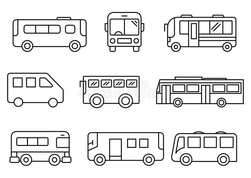 Λεπτό σύνολο λεωφορείων εικονιδίων γραμμών διανυσματική απεικόνιση