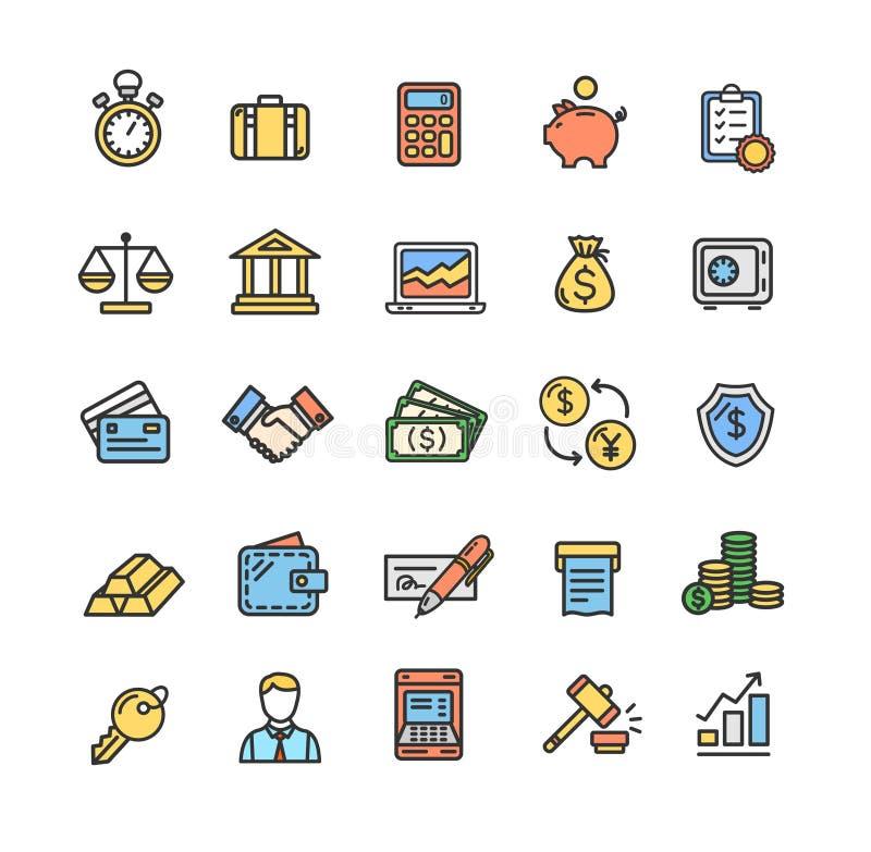 Λεπτό σύνολο γραμμών χρώματος εικονιδίων τραπεζικών εργασιών και λογιστικής διάνυσμα διανυσματική απεικόνιση
