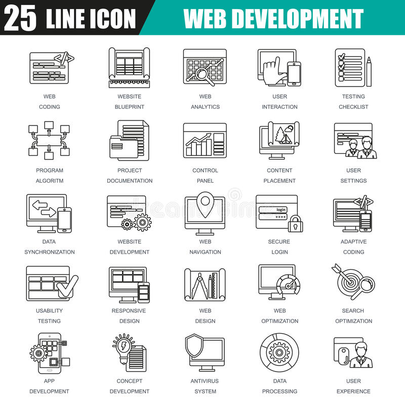 Λεπτό σύνολο εικονιδίων γραμμών σχεδίου Ιστού και ανάπτυξης, κωδικοποίηση Ιστού διανυσματική απεικόνιση