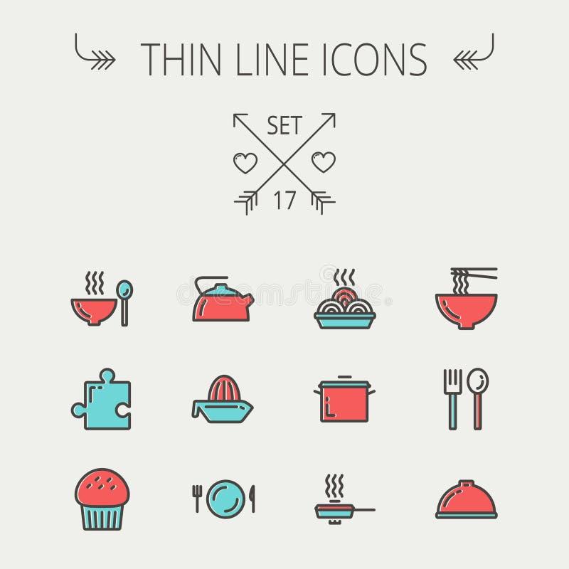 Λεπτό σύνολο εικονιδίων γραμμών τροφίμων απεικόνιση αποθεμάτων