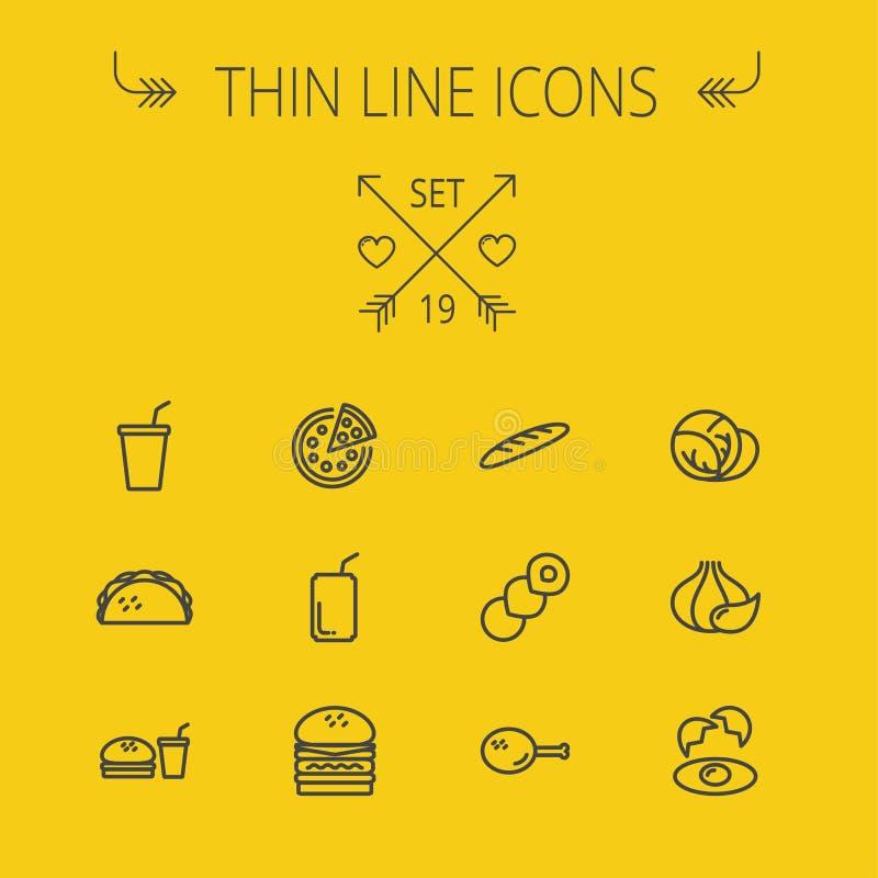 Λεπτό σύνολο εικονιδίων γραμμών τροφίμων διανυσματική απεικόνιση