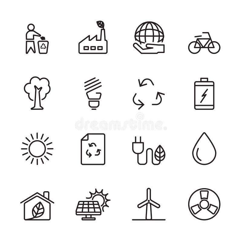 Λεπτό σύνολο ενεργειακών εικονιδίων οικολογίας γραμμών, διανυσματικό eps10 διανυσματική απεικόνιση