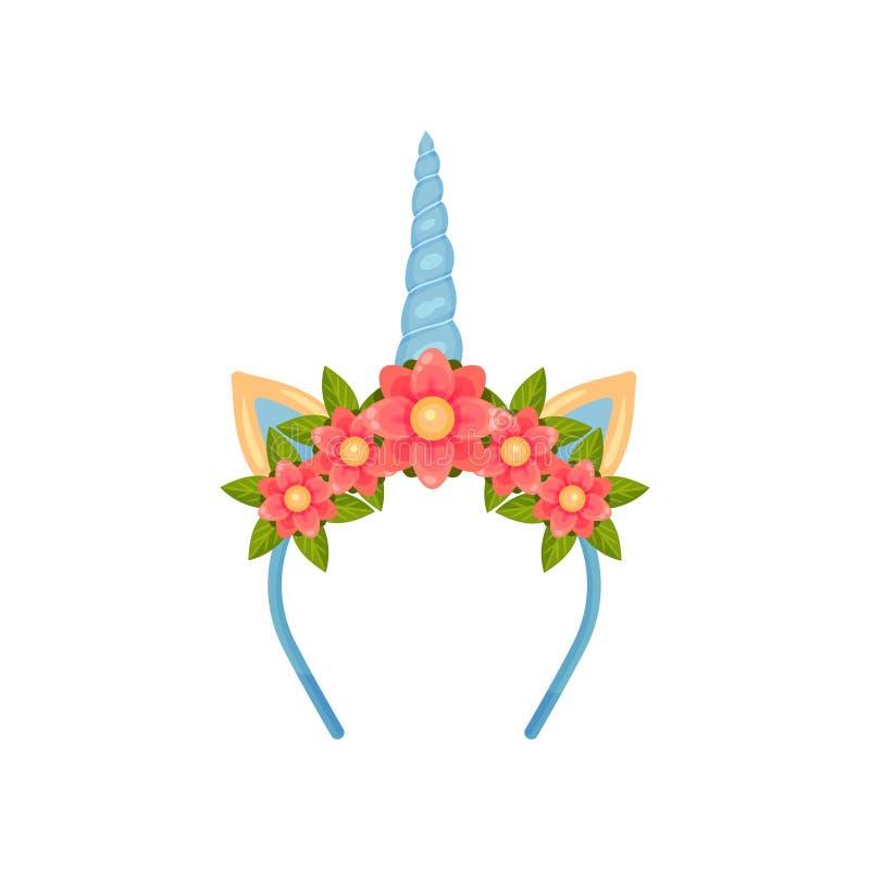 Λεπτό headband με το μπλε κέρατο και τα αυτιά μονοκέρων E απεικόνιση αποθεμάτων