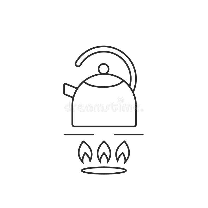 Λεπτό teapot γραμμών στη σόμπα αερίου ελεύθερη απεικόνιση δικαιώματος