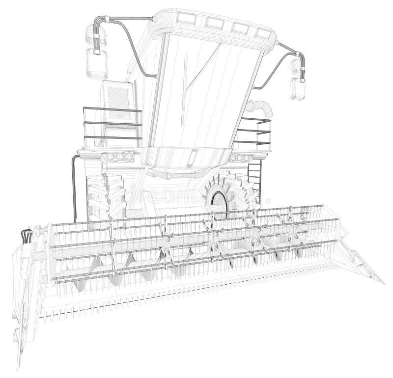 Λεπτύντε το περιγραμμένο, λεπτομερές τρισδιάστατο σχέδιο της γεωργικής θεριστικής μηχανής με το σωλήνα συγκομιδών που απομονώνετα διανυσματική απεικόνιση