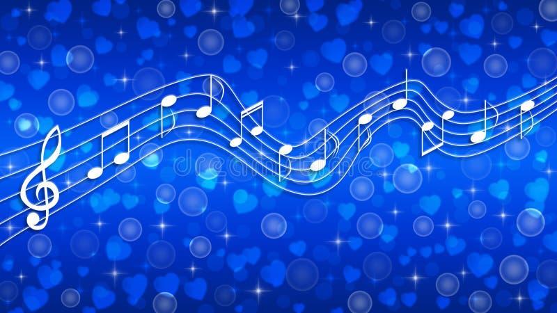 Λευκές μουσικές σημειώσεις, φυσαλίδες, αστραφτερές και καρδιές σε μπλε ντεγκραντέ φόντο ελεύθερη απεικόνιση δικαιώματος