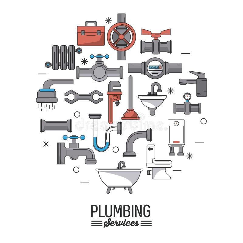 Λευκές υπηρεσίες υδραυλικών αφισών υποβάθρου με το σύνολο εικονιδίων υδραυλικών απεικόνιση αποθεμάτων
