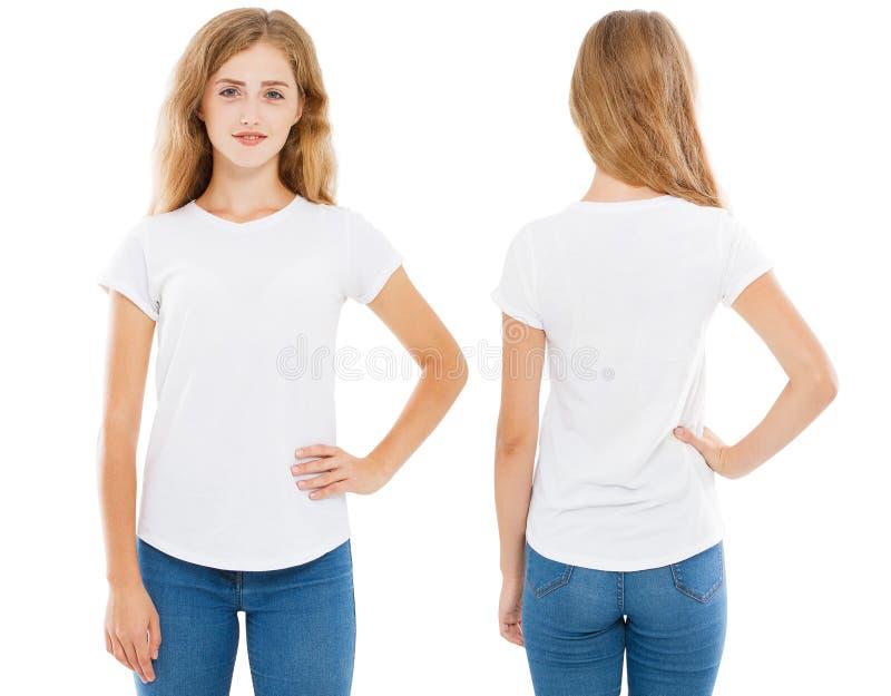 Λευκή γυναίκα στο άσπρο σύνολο μπλουζών, κενό, λογότυπο, κενό στοκ εικόνες