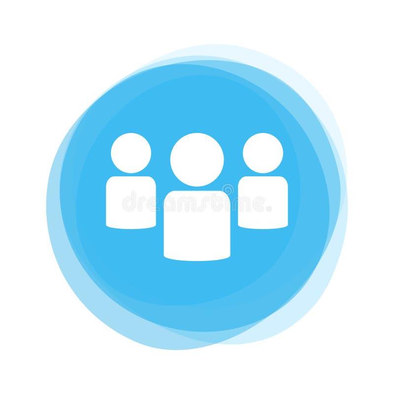 Λευκιά ομάδα σχετικά με το ανοικτό μπλε κουμπί διανυσματική απεικόνιση